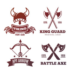 vintage warrior emblems viking knight king vector image vector image