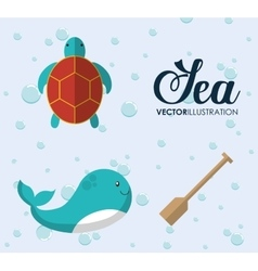 whale and tortoise icon Sea animal cartoon vector image