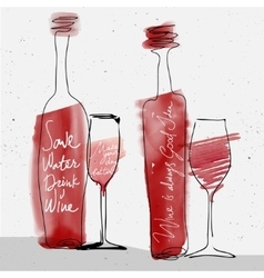 wine glass and bottle red watercolor sketched vector image