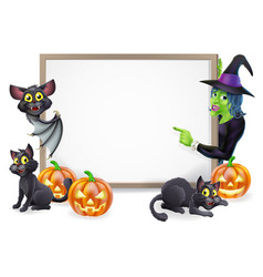 Witch and vampire bat halloween sign vector