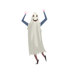 young man dressed as ghost guy in festival vector image