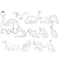 animal outline for different types of dinosaurs vector image