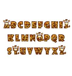 cartoon giraffe font lettering alphabet set vector image vector image