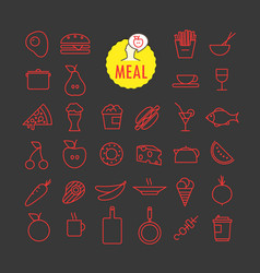 different meal icons collection web and mobile vector image