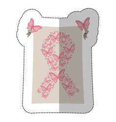 emblem breast cancer butterflys icon vector image