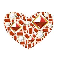 Heart of gems vector image
