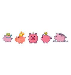 piggy bank icon set cartoon style vector image