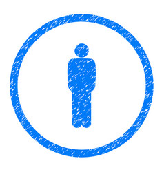 standing person pose rounded grainy icon vector image vector image