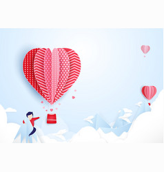 young man finding love concept hot air balloons vector image vector image