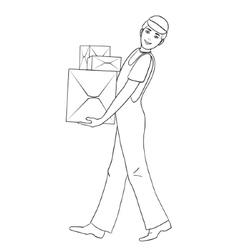 Boy in uniform carries cardboard boxes vector image vector image