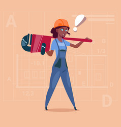 cartoon female builder wearing uniform and helmet vector image