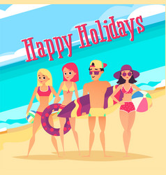 happy holidays group of young people on beach vector image
