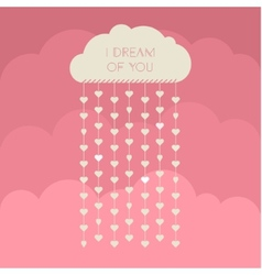 Paper heart from cloud on red vector image vector image