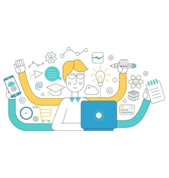 People self employment and different multitasking vector image