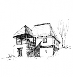 rural house sketch vector image vector image
