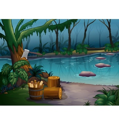 A mysterious forest and a river vector image vector image