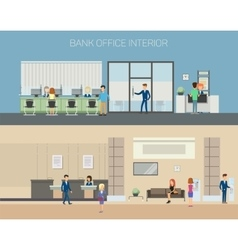 Bank office interior with consultants at reception vector