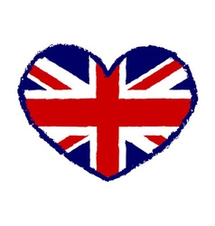 British flag t shirt typography graphics heart vector image