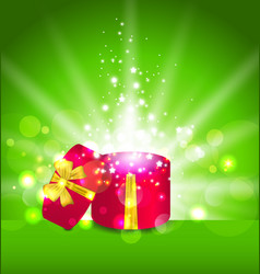 Christmas background with open round gift box vector image vector image