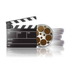 clapboard and film reel 01 vector image vector image