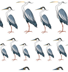 Seamless background with crane birds vector