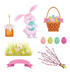 set of cartoon style easter decoration elements vector image vector image