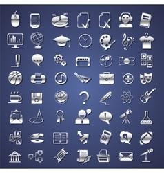 silver school college education icons vector image vector image