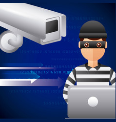 thief hacking in laptop cyber data camera vector image