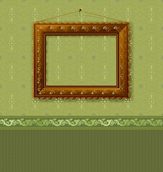 wooden picture frame on the wall with wallpaper vector image