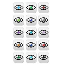 Eye colors sight icons set - icons set vector