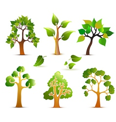 Green Trees Set vector image