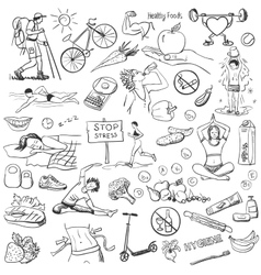 Hand drawn about healthy lifestyle on white vector image vector image