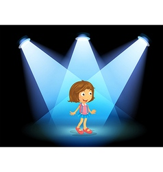 A girl smiling at the center of the stage vector image