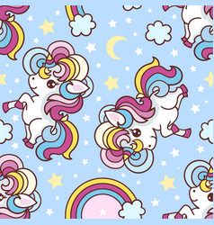 a small cartoon unicorn on a rainbow background vector image