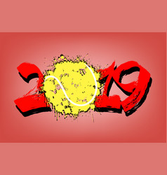 Abstract number 2019 and a tennis ball from blots vector