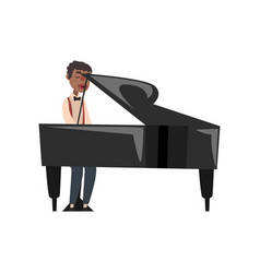 African american jazz musician playing grand piano vector