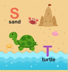 Alphabet letter s-sand t-turtle vector
