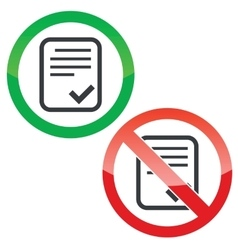 Approve document permission signs set vector