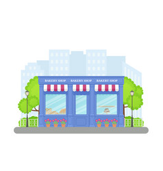 Bakery shop store front in flat design vector
