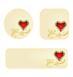 Banner and buttons valentines day heart jasmine vector