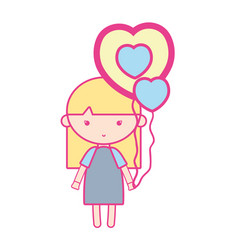 beauty girl with heart balloons and hairstyle vector image