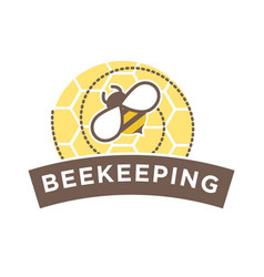 beekeeping logo design with abstract bee on vector image