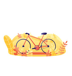 Bicycle with plants orange bike in park flat vector