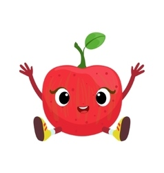 Big Eyed Cute Girly Apple Character Sitting Emoji vector image