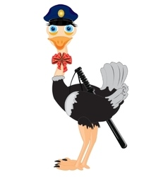 Bird ostrich police vector image