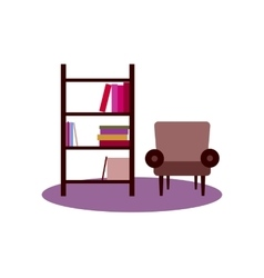 bookshelf armchair interior flat vector image