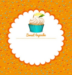 Border design with lemon cupcake vector image