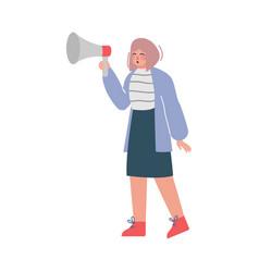 businesswoman shouting through loudspeaker social vector image