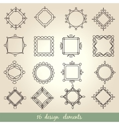 Calligraphic elements vintage set frame vector image