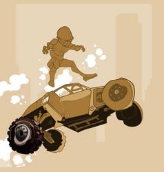 Cartoon man flies out of car suv jump vector